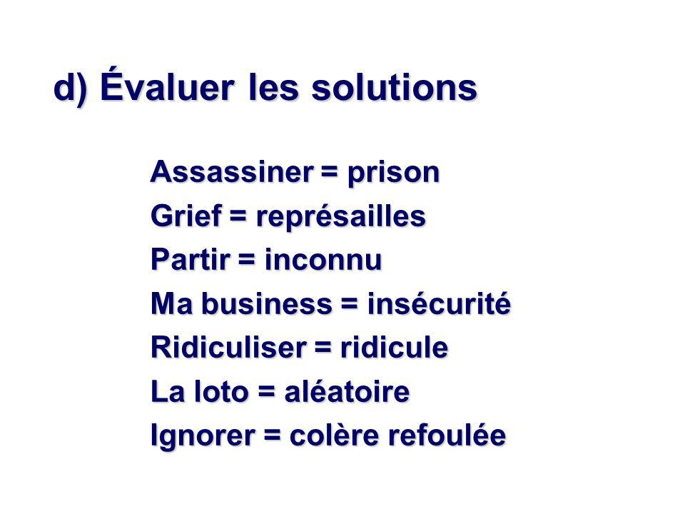 d) Évaluer les solutions Assassiner = prison Grief = représailles Partir = inconnu Ma business = insécurité Ridiculiser = ridicule La loto = aléatoire Ignorer = colère refoulée
