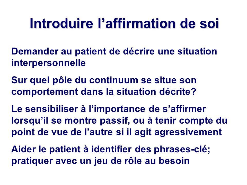 Introduire laffirmation de soi Demander au patient de décrire une situation interpersonnelle Sur quel pôle du continuum se situe son comportement dans la situation décrite.