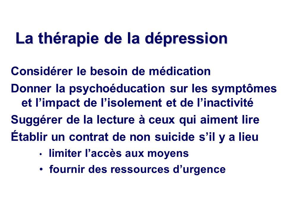 La thérapie de la dépression Considérer le besoin de médication Donner la psychoéducation sur les symptômes et limpact de lisolement et de linactivité
