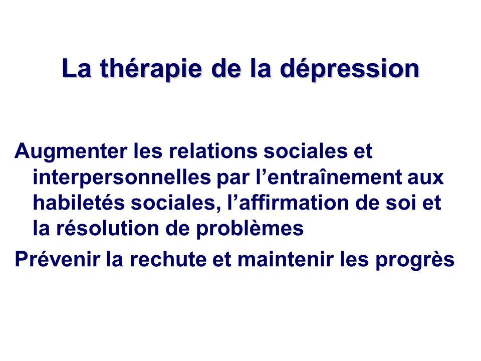 La thérapie de la dépression Augmenter les relations sociales et interpersonnelles par lentraînement aux habiletés sociales, laffirmation de soi et la résolution de problèmes Prévenir la rechute et maintenir les progrès