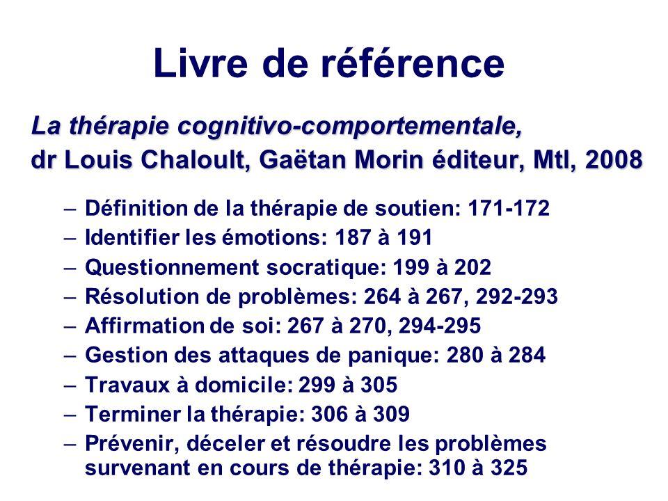 Livre de référence La thérapie cognitivo-comportementale, dr Louis Chaloult, Gaëtan Morin éditeur, Mtl, 2008 –Définition de la thérapie de soutien: 17
