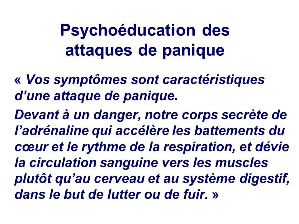 Psychoéducation des attaques de panique « Vos symptômes sont caractéristiques dune attaque de panique. Devant à un danger, notre corps secrète de ladr