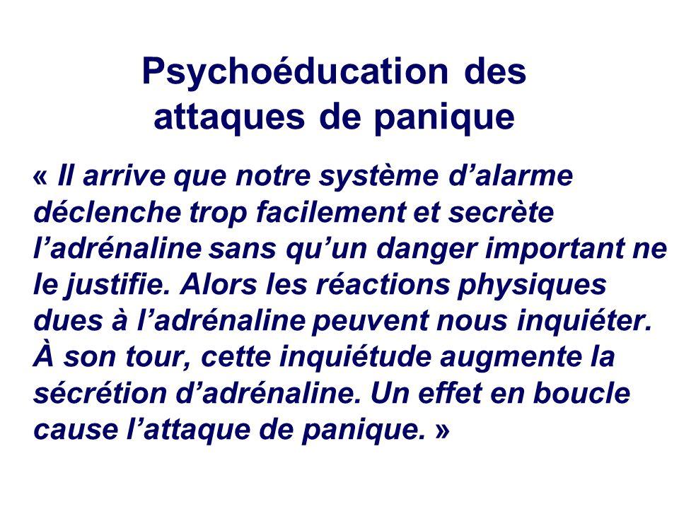 Psychoéducation des attaques de panique « Il arrive que notre système dalarme déclenche trop facilement et secrète ladrénaline sans quun danger important ne le justifie.