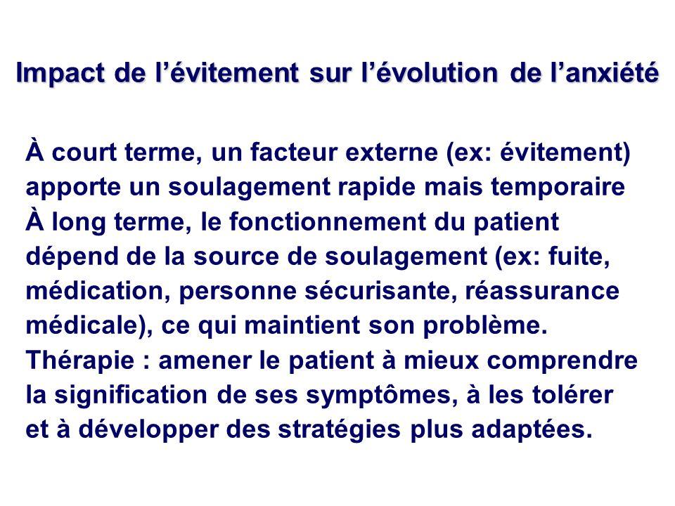 Impact de lévitement sur lévolution de lanxiété À court terme, un facteur externe (ex: évitement) apporte un soulagement rapide mais temporaire À long