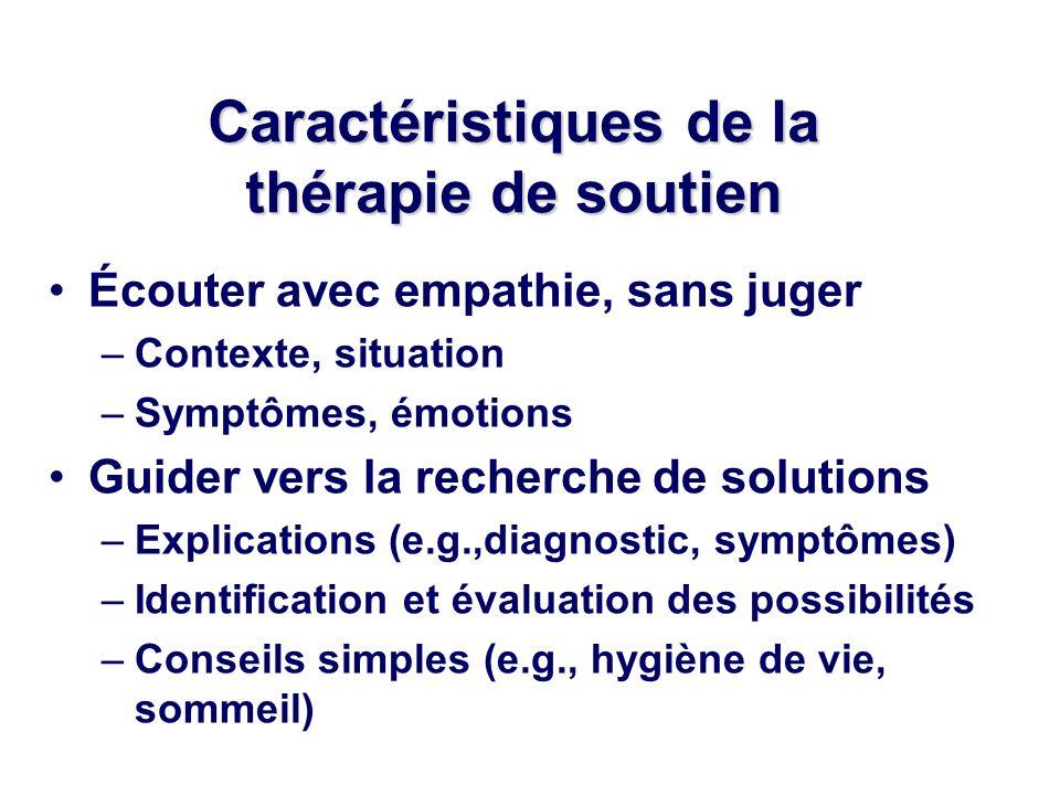 Écouter avec empathie, sans juger –Contexte, situation –Symptômes, émotions Guider vers la recherche de solutions –Explications (e.g.,diagnostic, symp