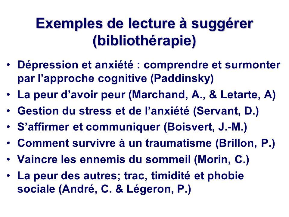 Exemples de lecture à suggérer (bibliothérapie) Dépression et anxiété : comprendre et surmonter par lapproche cognitive (Paddinsky) La peur davoir peur (Marchand, A., & Letarte, A) Gestion du stress et de lanxiété (Servant, D.) Saffirmer et communiquer (Boisvert, J.-M.) Comment survivre à un traumatisme (Brillon, P.) Vaincre les ennemis du sommeil (Morin, C.) La peur des autres; trac, timidité et phobie sociale (André, C.