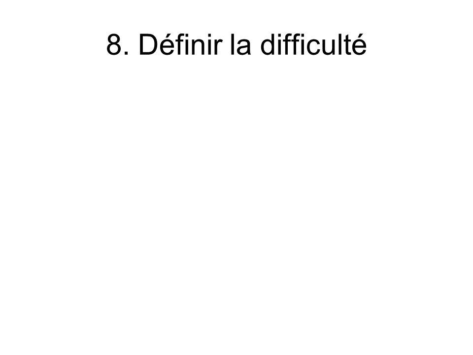 8. Définir la difficulté