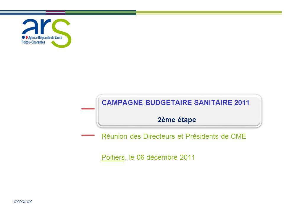 XX/XX/XX Réunion des Directeurs et Présidents de CME Poitiers, le 06 décembre 2011 CAMPAGNE BUDGETAIRE SANITAIRE 2011 2ème étape