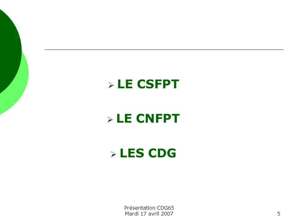 Présentation CDG65 Mardi 17 avril 20075 LE CSFPT LE CNFPT LES CDG