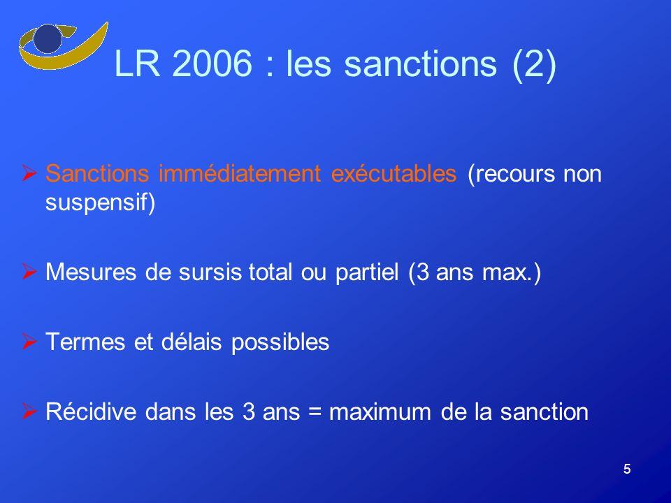 5 LR 2006 : les sanctions (2) Sanctions immédiatement exécutables (recours non suspensif) Mesures de sursis total ou partiel (3 ans max.) Termes et délais possibles Récidive dans les 3 ans = maximum de la sanction