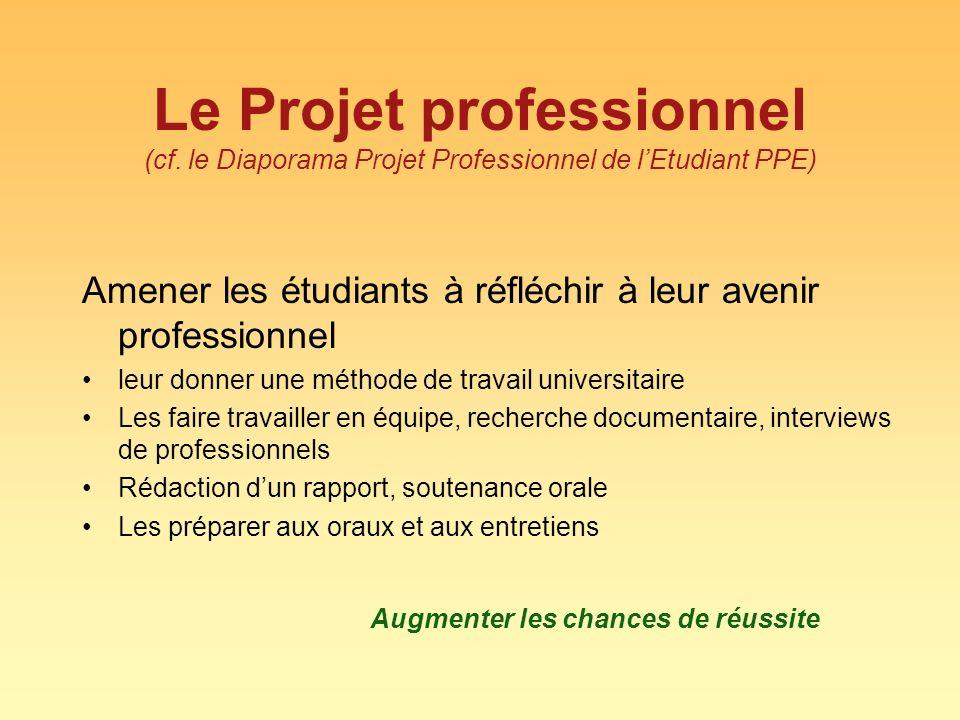 Le Projet professionnel (cf. le Diaporama Projet Professionnel de lEtudiant PPE) Amener les étudiants à réfléchir à leur avenir professionnel leur don