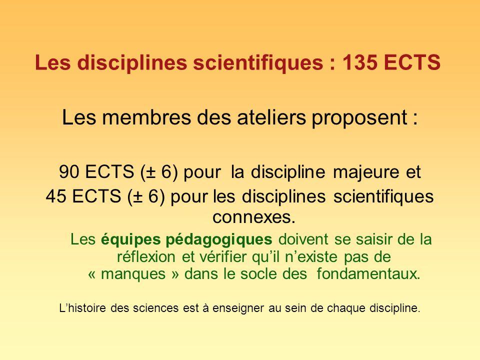 Les disciplines scientifiques : 135 ECTS Les membres des ateliers proposent : 90 ECTS (± 6) pour la discipline majeure et 45 ECTS (± 6) pour les disciplines scientifiques connexes.