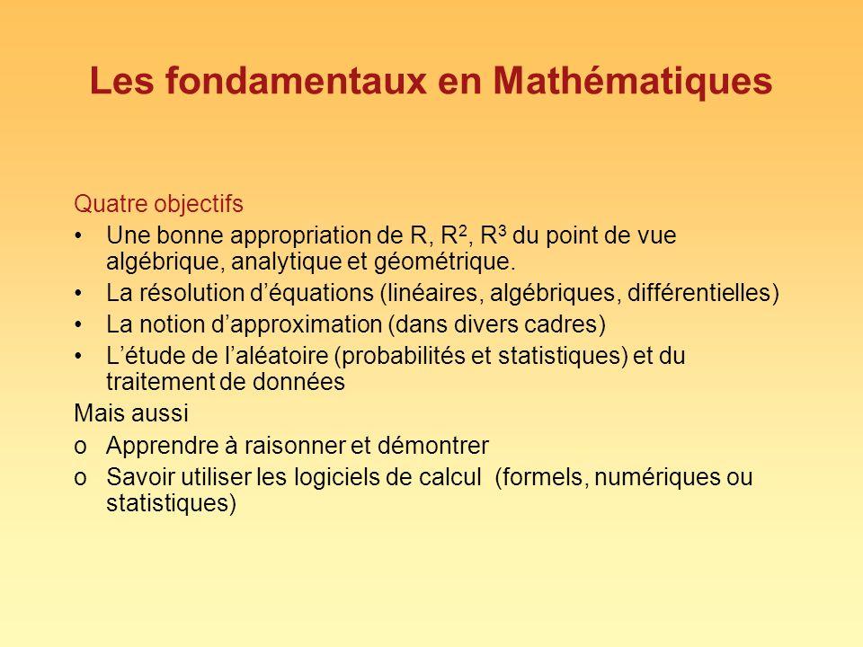 Les fondamentaux en Mathématiques Quatre objectifs Une bonne appropriation de R, R 2, R 3 du point de vue algébrique, analytique et géométrique. La ré