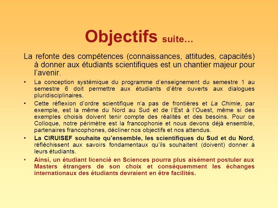 Objectifs suite… La refonte des compétences (connaissances, attitudes, capacités) à donner aux étudiants scientifiques est un chantier majeur pour lav