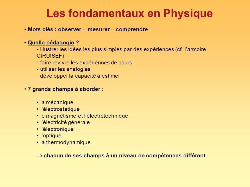 Les fondamentaux en Physique Mots clés : observer – mesurer – comprendre Quelle pédagogie .