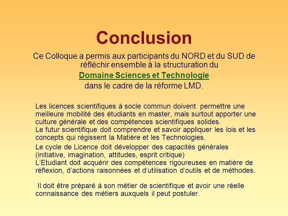 Conclusion Ce Colloque a permis aux participants du NORD et du SUD de réfléchir ensemble à la structuration du Domaine Sciences et Technologie dans le cadre de la réforme LMD.