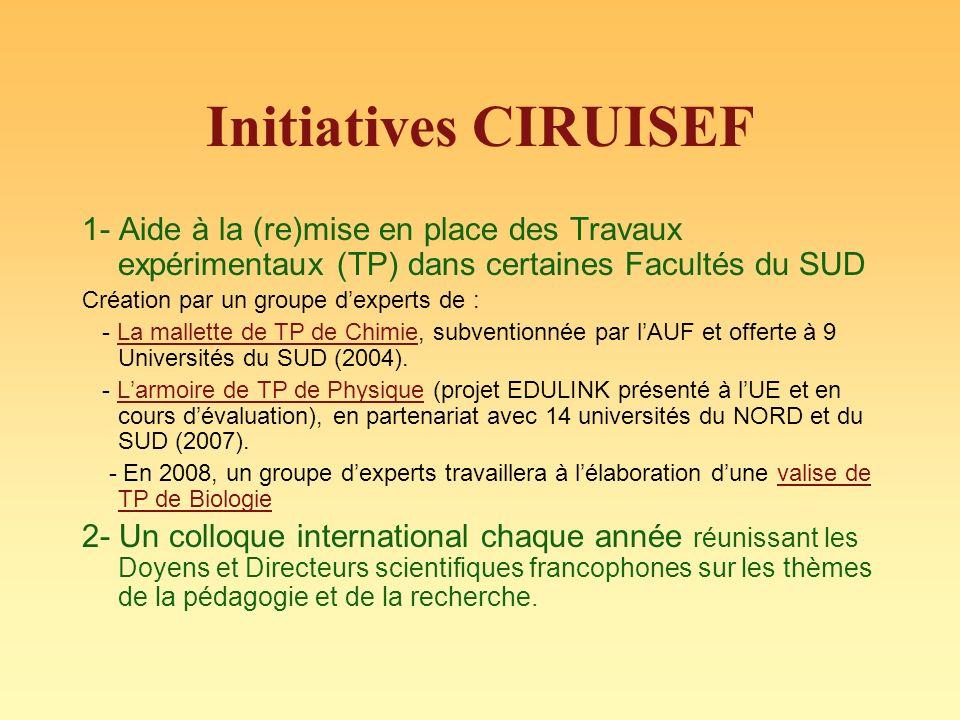 Initiatives CIRUISEF 1- Aide à la (re)mise en place des Travaux expérimentaux (TP) dans certaines Facultés du SUD Création par un groupe dexperts de : - La mallette de TP de Chimie, subventionnée par lAUF et offerte à 9 Universités du SUD (2004).