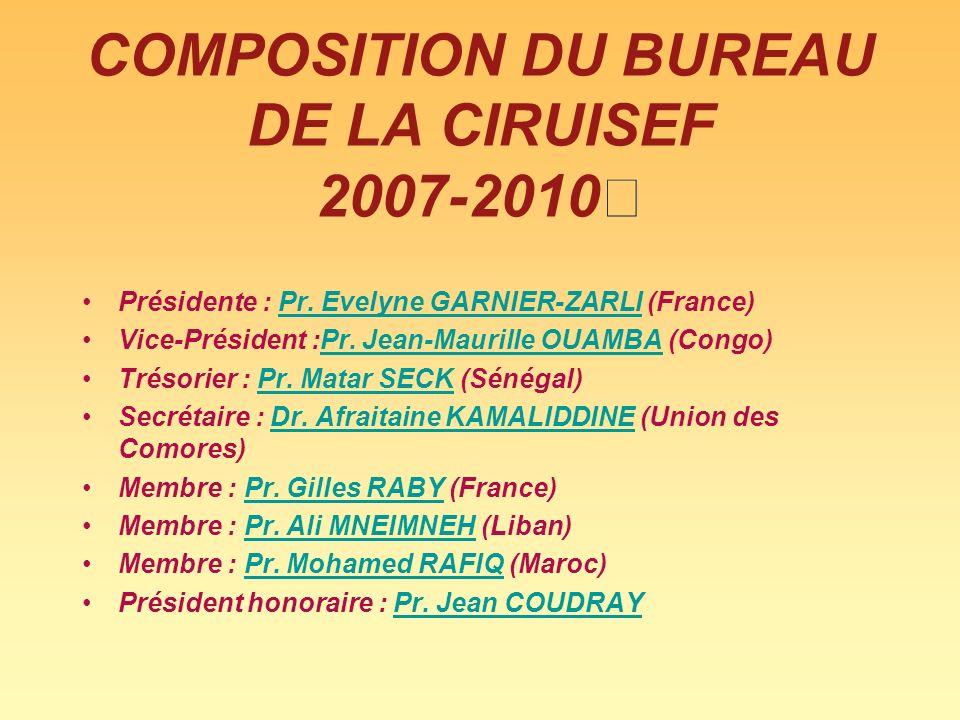 COMPOSITION DU BUREAU DE LA CIRUISEF 2007-2010 Présidente : Pr. Evelyne GARNIER-ZARLI (France)Pr. Evelyne GARNIER-ZARLI Vice-Président :Pr. Jean-Mauri