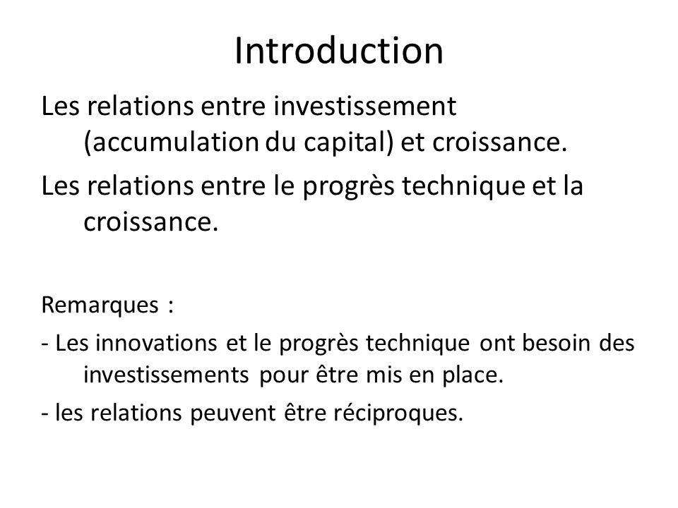 Introduction Les relations entre investissement (accumulation du capital) et croissance. Les relations entre le progrès technique et la croissance. Re
