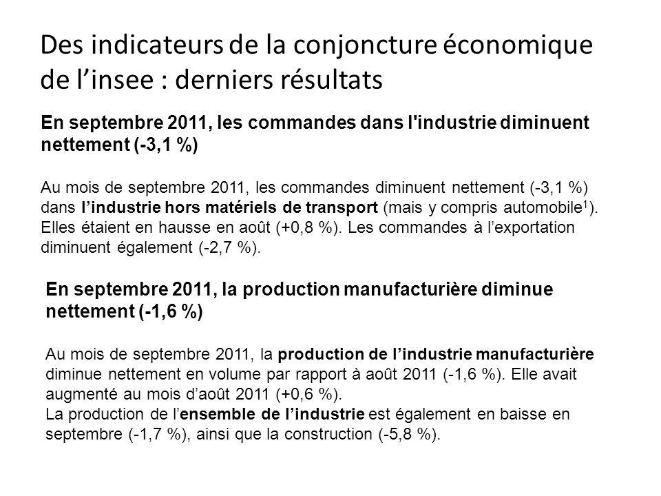 Des indicateurs de la conjoncture économique de linsee : derniers résultats En septembre 2011, les commandes dans l'industrie diminuent nettement (-3,