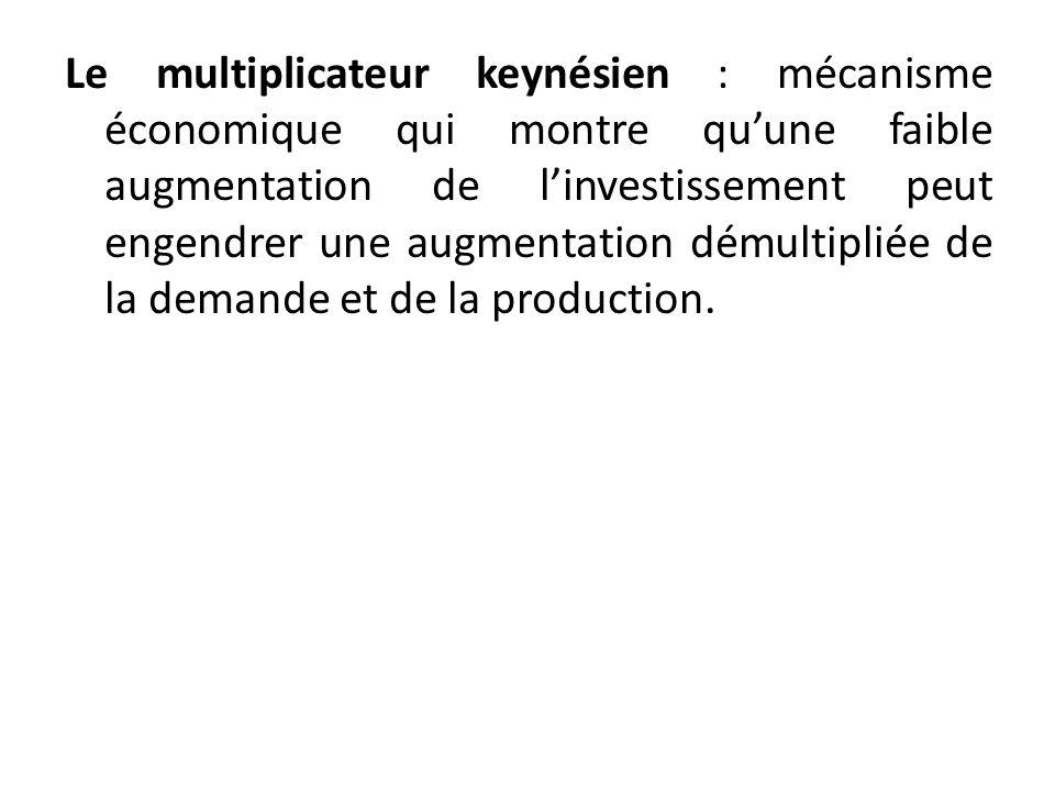 Le multiplicateur keynésien : mécanisme économique qui montre quune faible augmentation de linvestissement peut engendrer une augmentation démultiplié