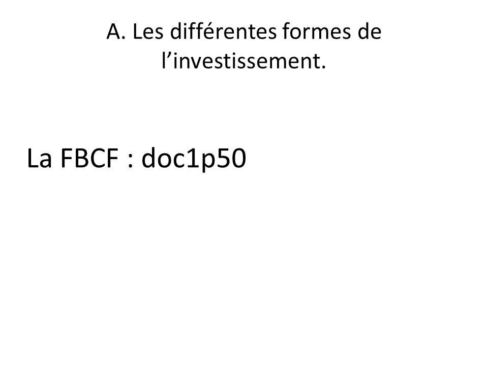 A. Les différentes formes de linvestissement. La FBCF : doc1p50