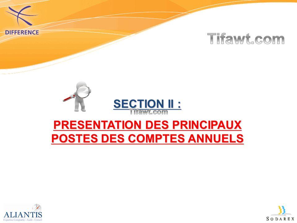 SECTION II : PRESENTATION DES PRINCIPAUX POSTES DES COMPTES ANNUELS