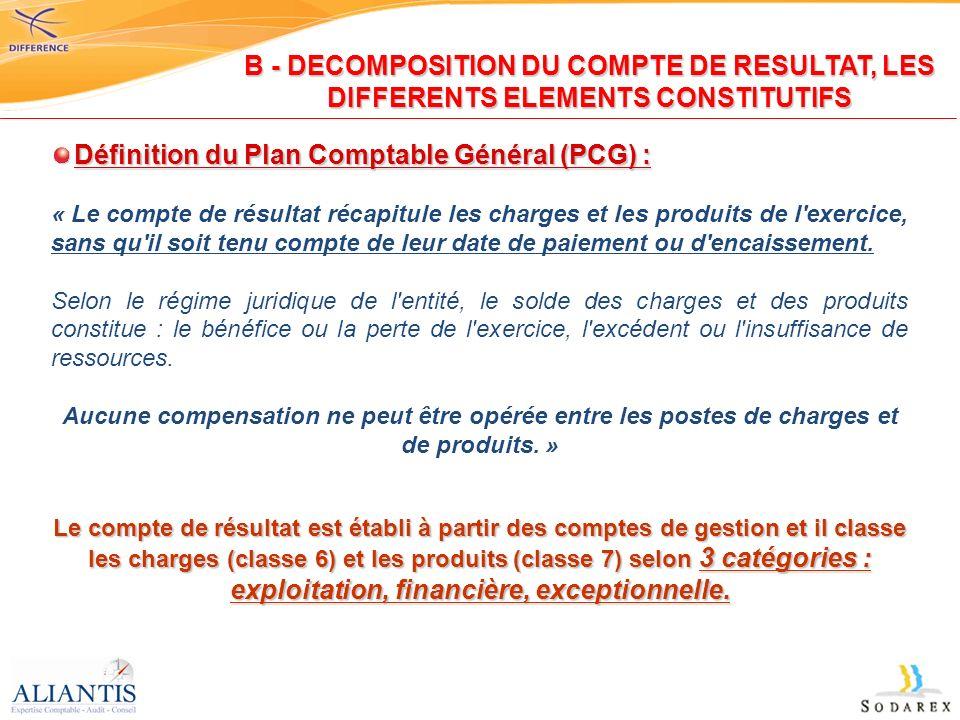 Définition du Plan Comptable Général (PCG) : « Le compte de résultat récapitule les charges et les produits de l'exercice, sans qu'il soit tenu compte