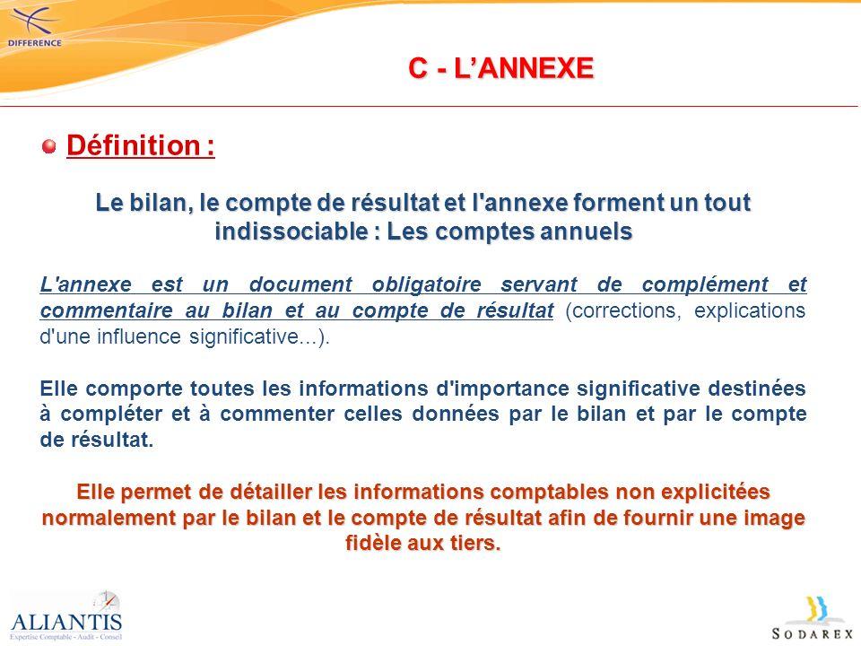 Définition : Le bilan, le compte de résultat et l'annexe forment un tout indissociable : Les comptes annuels L'annexe est un document obligatoire serv