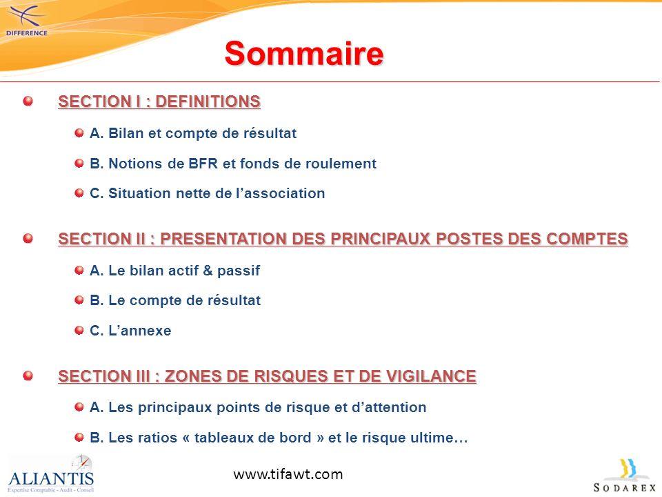 Sommaire SECTION I : DEFINITIONS A. Bilan et compte de résultat B. Notions de BFR et fonds de roulement C. Situation nette de lassociation SECTION II
