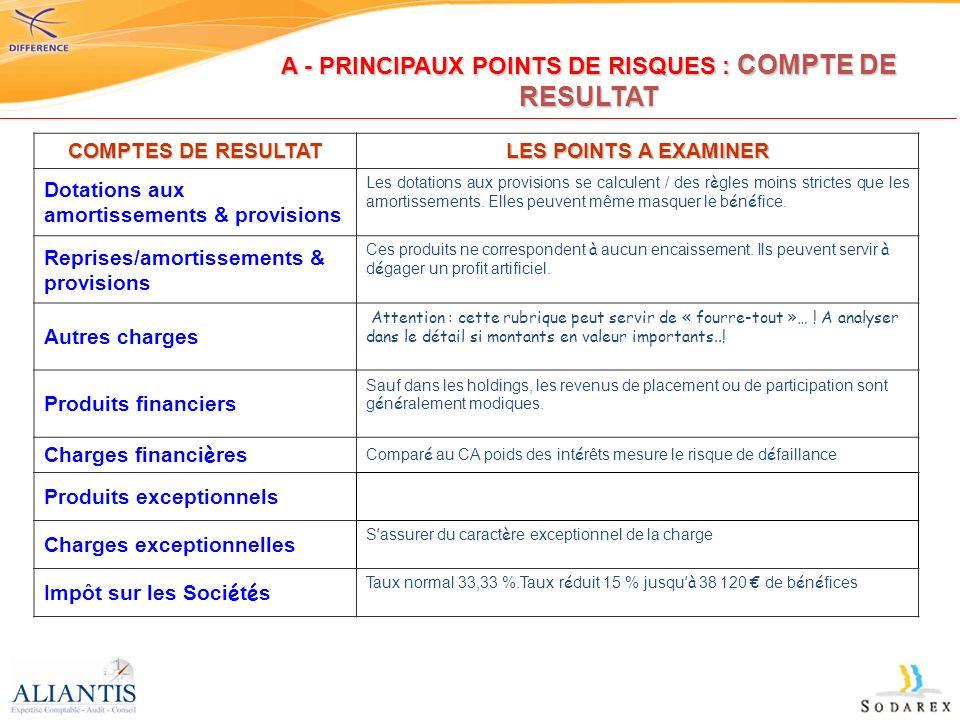 COMPTES DE RESULTAT LES POINTS A EXAMINER Dotations aux amortissements & provisions Les dotations aux provisions se calculent / des règles moins stric