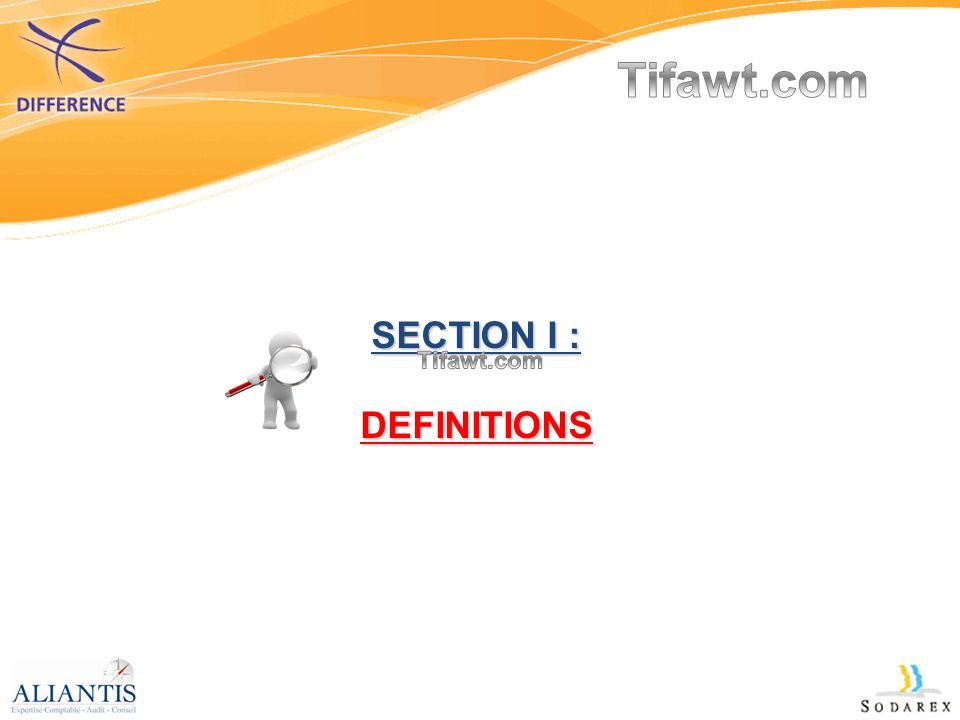 SECTION I : DEFINITIONS