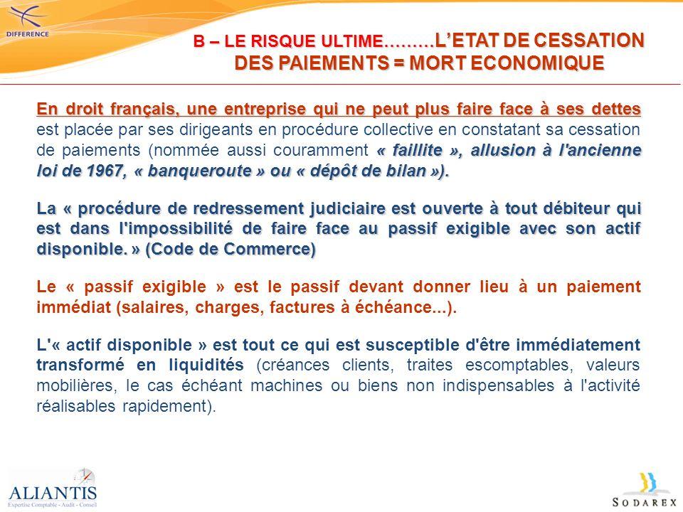 En droit français, une entreprise qui ne peut plus faire face à ses dettes « faillite », allusion à l'ancienne loi de 1967, « banqueroute » ou « dépôt