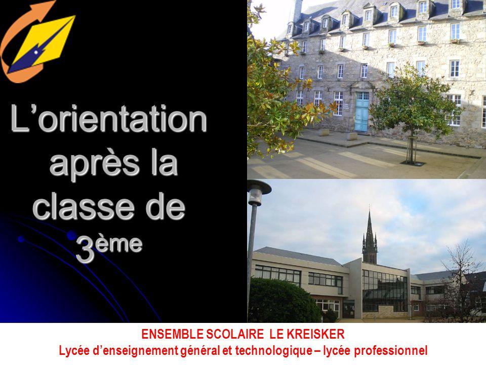 Lorientation après la classe de 3 ème ENSEMBLE SCOLAIRE LE KREISKER Lycée denseignement général et technologique – lycée professionnel