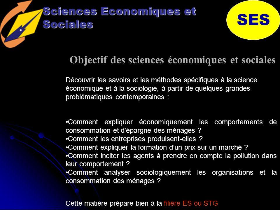 Sciences Economiques et Sociales SES Objectif des sciences économiques et sociales Comment expliquer économiquement les comportements de consommation et d épargne des ménages .
