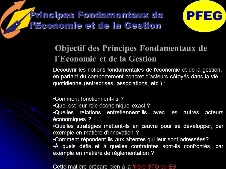 Principes Fondamentaux de lEconomie et de la Gestion Cette matière prépare bien à la filière STG ou ES PFEG Comment fonctionnent-ils .