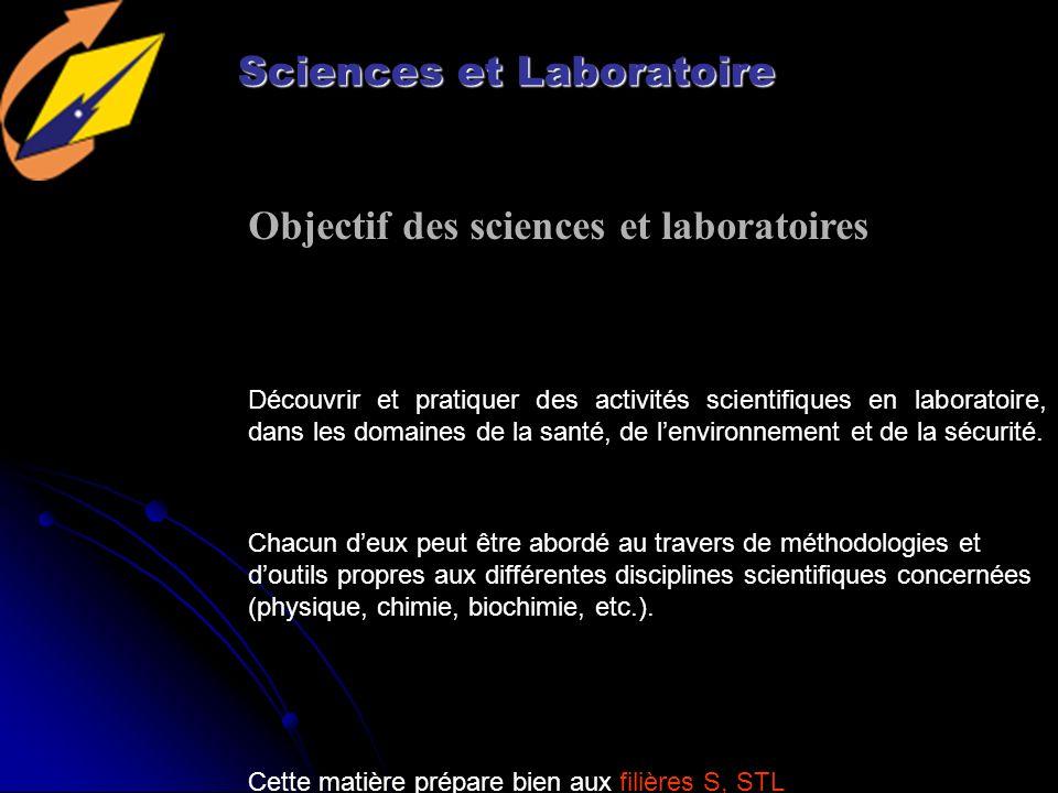 Sciences et Laboratoire Découvrir et pratiquer des activités scientifiques en laboratoire, dans les domaines de la santé, de lenvironnement et de la sécurité.