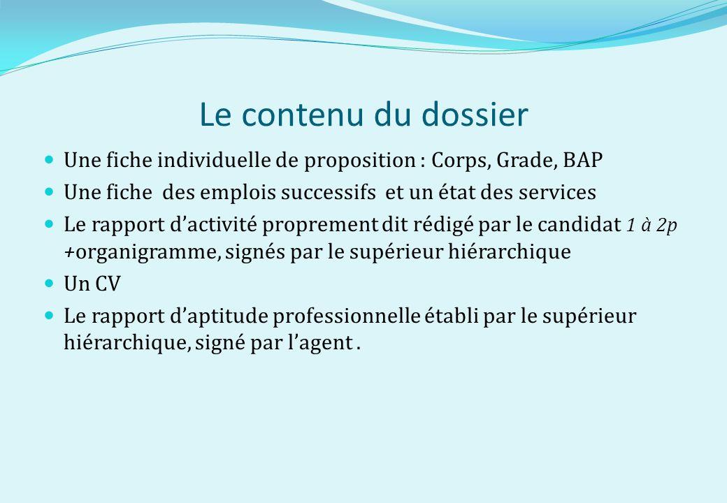Le contenu du dossier Une fiche individuelle de proposition : Corps, Grade, BAP Une fiche des emplois successifs et un état des services Le rapport da