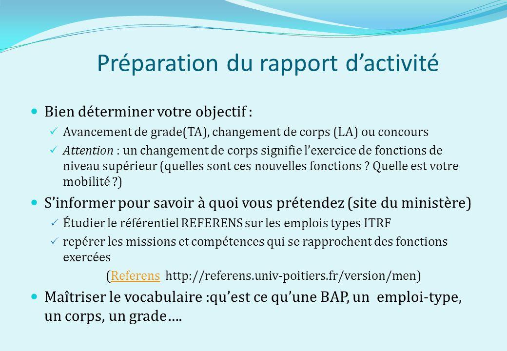 Préparation du rapport dactivité Bien déterminer votre objectif : Avancement de grade(TA), changement de corps (LA) ou concours Attention : un changem