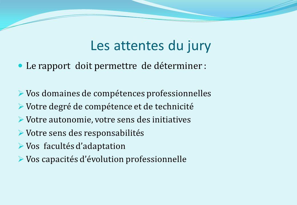 Les attentes du jury Le rapport doit permettre de déterminer : Vos domaines de compétences professionnelles Votre degré de compétence et de technicité