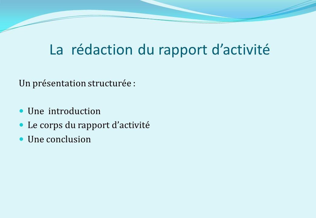 La rédaction du rapport dactivité Un présentation structurée : Une introduction Le corps du rapport dactivité Une conclusion
