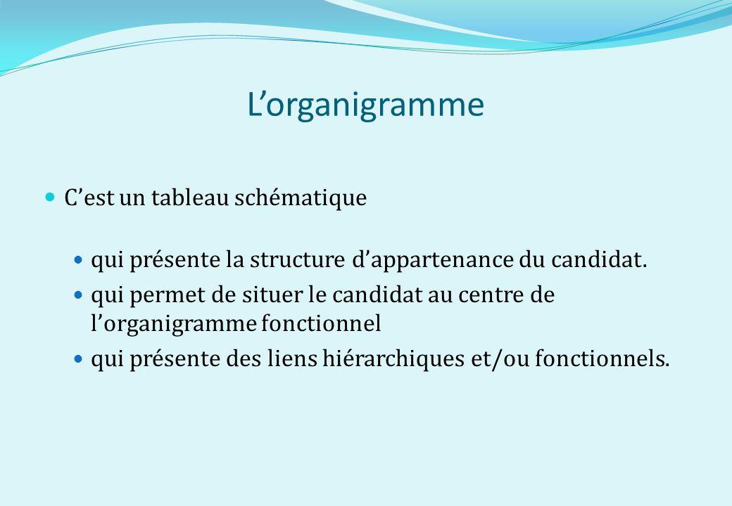 Lorganigramme Cest un tableau schématique qui présente la structure dappartenance du candidat. qui permet de situer le candidat au centre de lorganigr