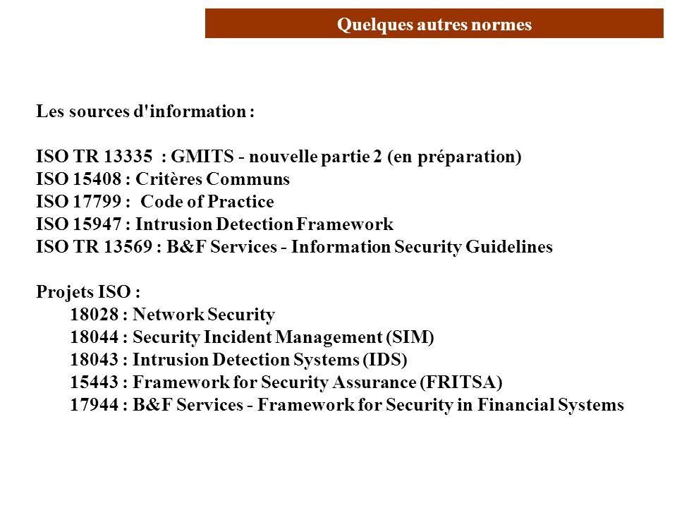 AVRIL 2005 Thierry RAMARD 9 Quelques autres normes Les sources d'information : ISO TR 13335 : GMITS - nouvelle partie 2 (en préparation) ISO 15408 : C