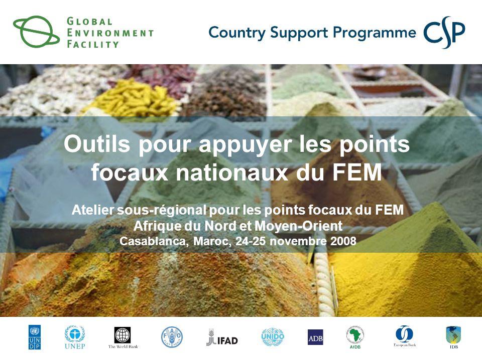 Outils pour appuyer les points focaux nationaux du FEM Atelier sous-régional pour les points focaux du FEM Afrique du Nord et Moyen-Orient Casablanca, Maroc, 24-25 novembre 2008