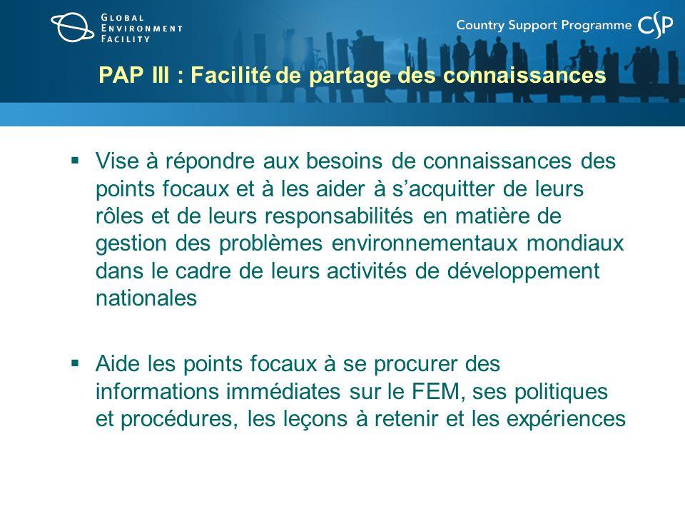 PAP III : Facilité de partage des connaissances Vise à répondre aux besoins de connaissances des points focaux et à les aider à sacquitter de leurs rôles et de leurs responsabilités en matière de gestion des problèmes environnementaux mondiaux dans le cadre de leurs activités de développement nationales Aide les points focaux à se procurer des informations immédiates sur le FEM, ses politiques et procédures, les leçons à retenir et les expériences