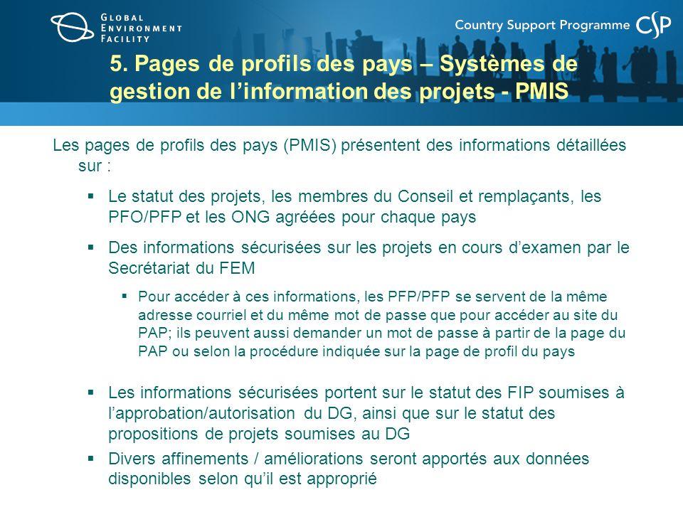 5. Pages de profils des pays – Systèmes de gestion de linformation des projets - PMIS Les pages de profils des pays (PMIS) présentent des informations