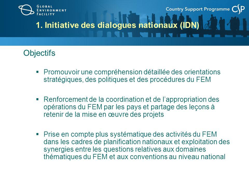 Initiative des dialogues nationaux (suite) En 2007/2008, les pays ont eu recours aux dialogues nationaux pour : Informer les parties prenantes nationales sur les questions relatives à lenvironnement mondial et sur les orientations stratégiques, les politiques et les procédures du FEM Dresser linventaire des portefeuilles et activités du FEM dans le pays Continuer délaborer des stratégies nationales du FEM et définir les priorités de financement Renforcer la coopération intersectorielles sur les questions environnementales Accroître la collaboration et les partenariats interorganisations Renforcer les mécanismes et les processus nationaux de coordination du FEM Promouvoir lintégration des thèmes du FEM dans les plans et politiques nationaux relatifs à lenvironnement et au développement durable