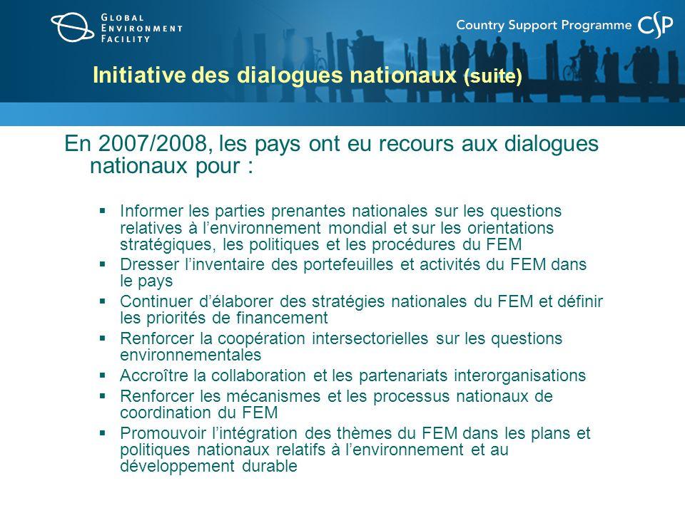 Initiative des dialogues nationaux (suite) Pour demander à accueillir un dialogue national du FEM à multiples parties prenantes : Envoyer une demande à cet effet au DG du FEM, Mme Monique Barbut Énoncer brièvement les objectifs et les résultats escomptés