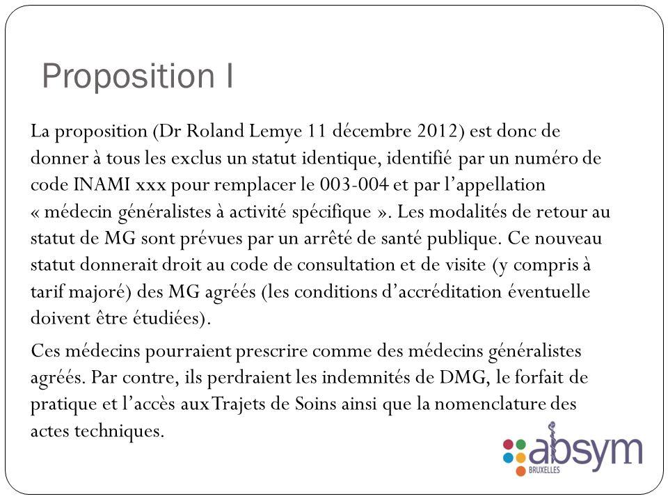 Proposition I La proposition (Dr Roland Lemye 11 décembre 2012) est donc de donner à tous les exclus un statut identique, identifié par un numéro de code INAMI xxx pour remplacer le 003-004 et par lappellation « médecin généralistes à activité spécifique ».