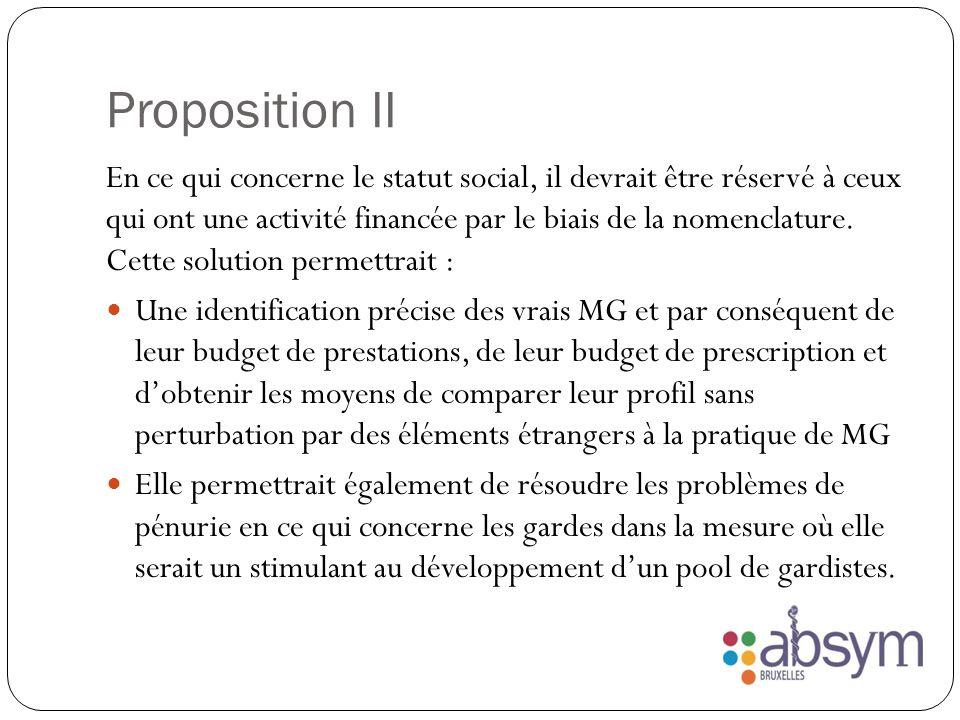 Proposition II En ce qui concerne le statut social, il devrait être réservé à ceux qui ont une activité financée par le biais de la nomenclature.